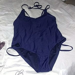 Navy blue one-piece bathing suit